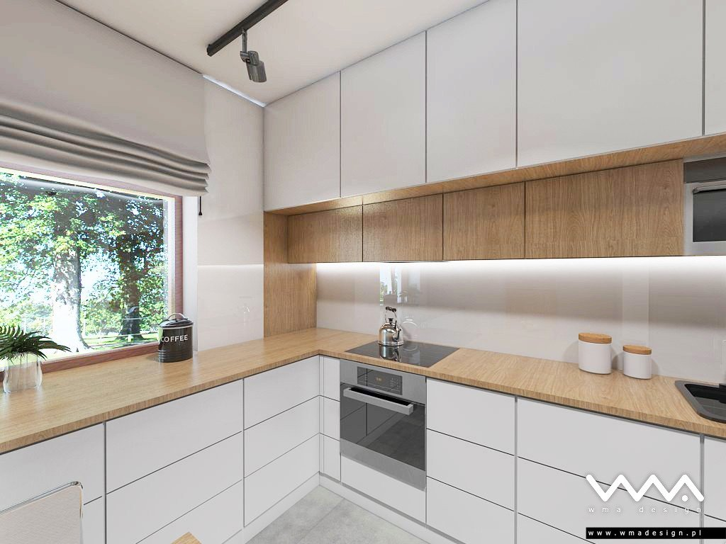 Salon Z Kuchnia W Bieli I Drewnie Q Housepl
