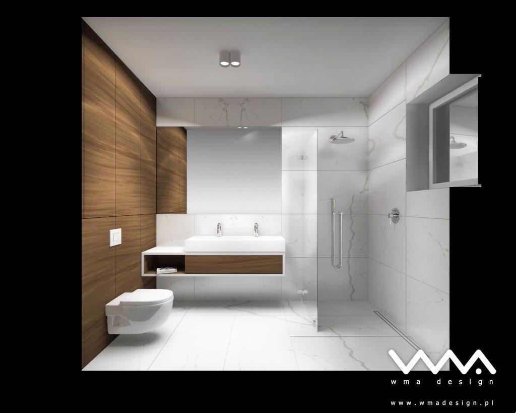 łazienka W Bieli I Drewnie Wma Design Warszawa