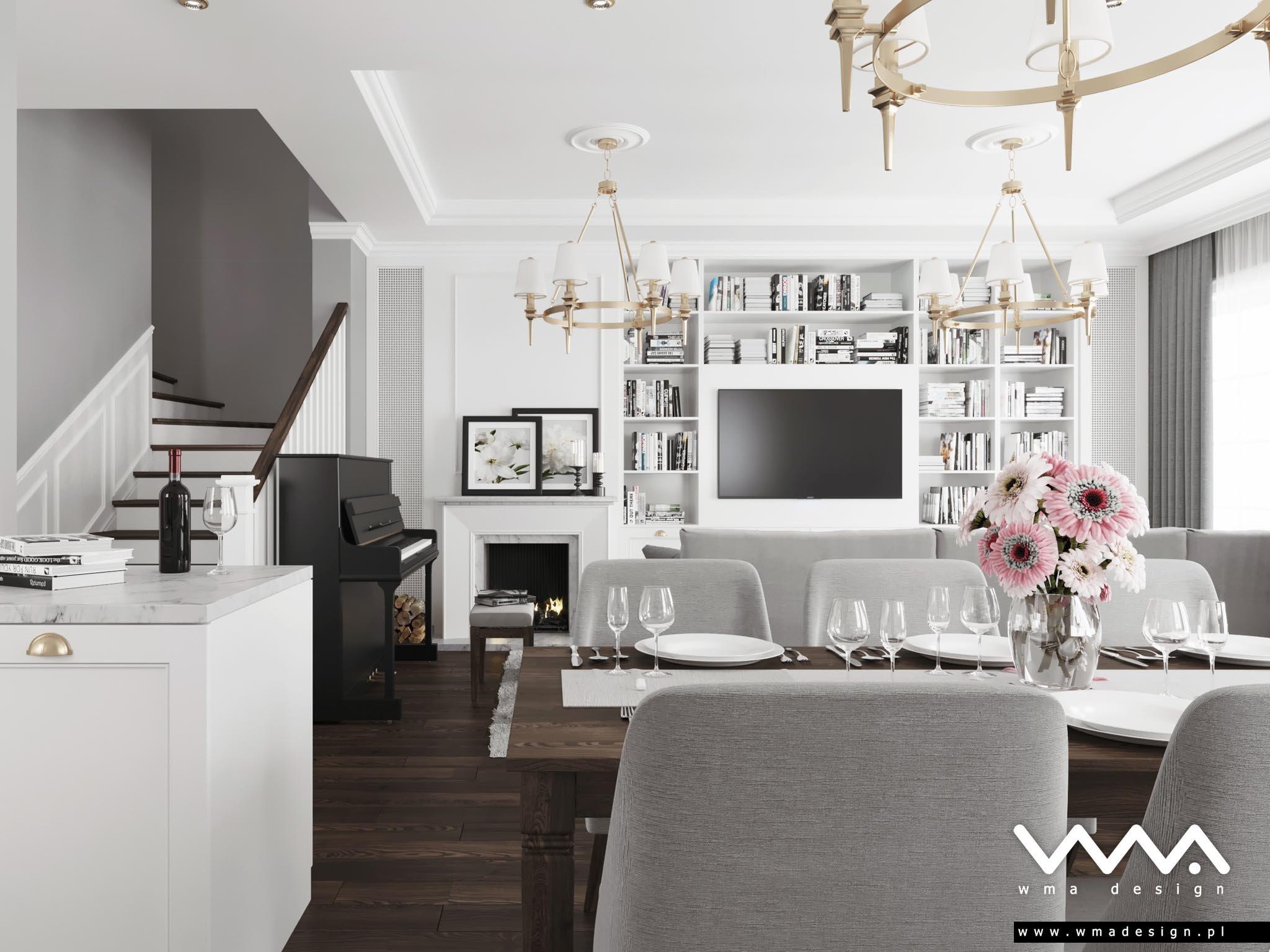 salon z aneksem kuchennym styl amerykański